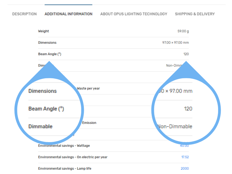 Screenshot of Where to Find Beam Angle Information Lightbulb Co Website Redesign