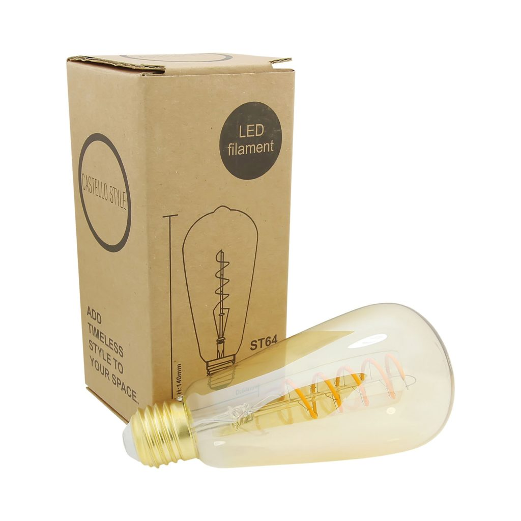 4watt Pear LED ES E27 Screw Cap Very Warm White Gold Finish Dimmable