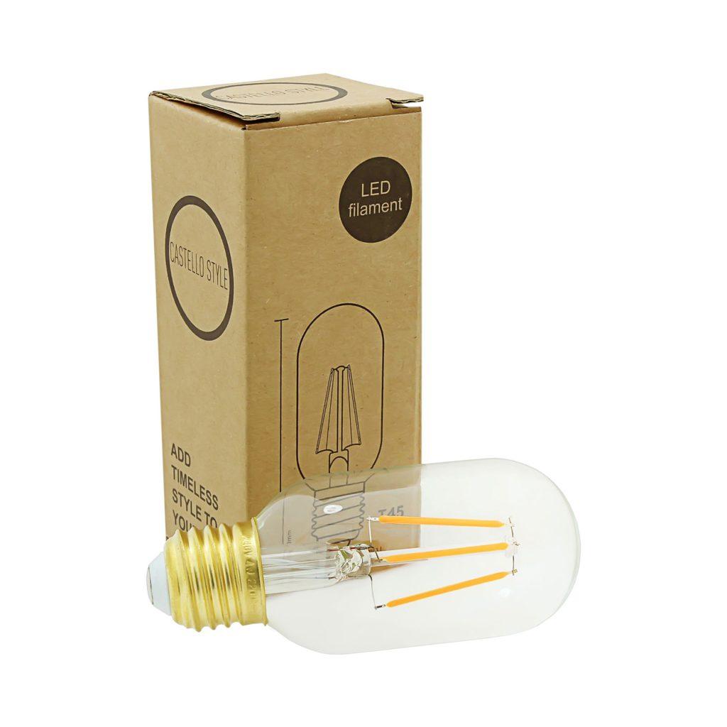 5watt Tubular T45 LED ES E27 Screw Cap Very Warm White Clear Dimmable