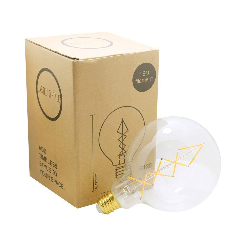 6.5watt G125 Large Globe LED ES E27 Screw Cap Very Warm White Clear Dimmable