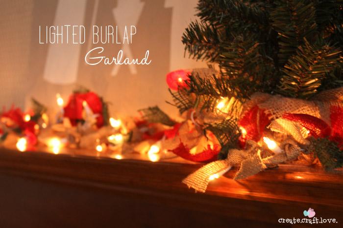 lighted burlap garland create craft love