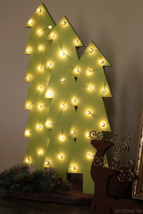 wooden christmas tree holiday lights diy dreamer