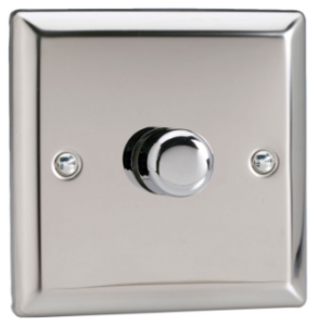 1 X 400w Trailing Push On And Off 2-Way Mirror Chrome Varilight Dimmer Switch