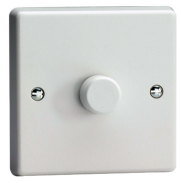 1 X 400w Trailing Push On And Off 2-Way White Varilight Dimmer Switch