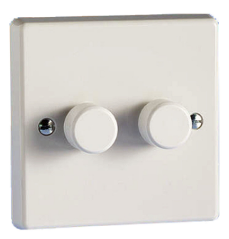2 X 250w Trailing Push On And Off 2-Way White Varilight Dimmer Switch