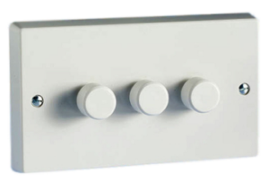 3 X 300w Trailing Push On And Off 2-Way Twin Plate White Varilight Dimmer Switch