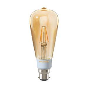 5.5watt Pear LED BC B22 Bayonet Cap Very Warm White Gold Finish Equivalent To 45watt Dimmable