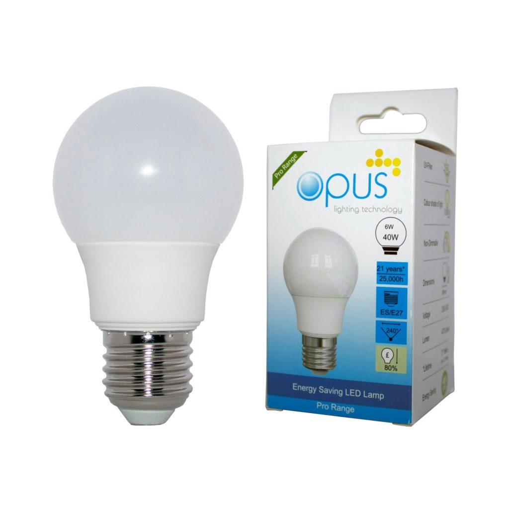 6watt GLS LED ES E27 Screw Cap Warm White Equivalent To 40watt