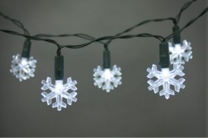 Battery Operated LED 20 X White Snowflake Light Set
