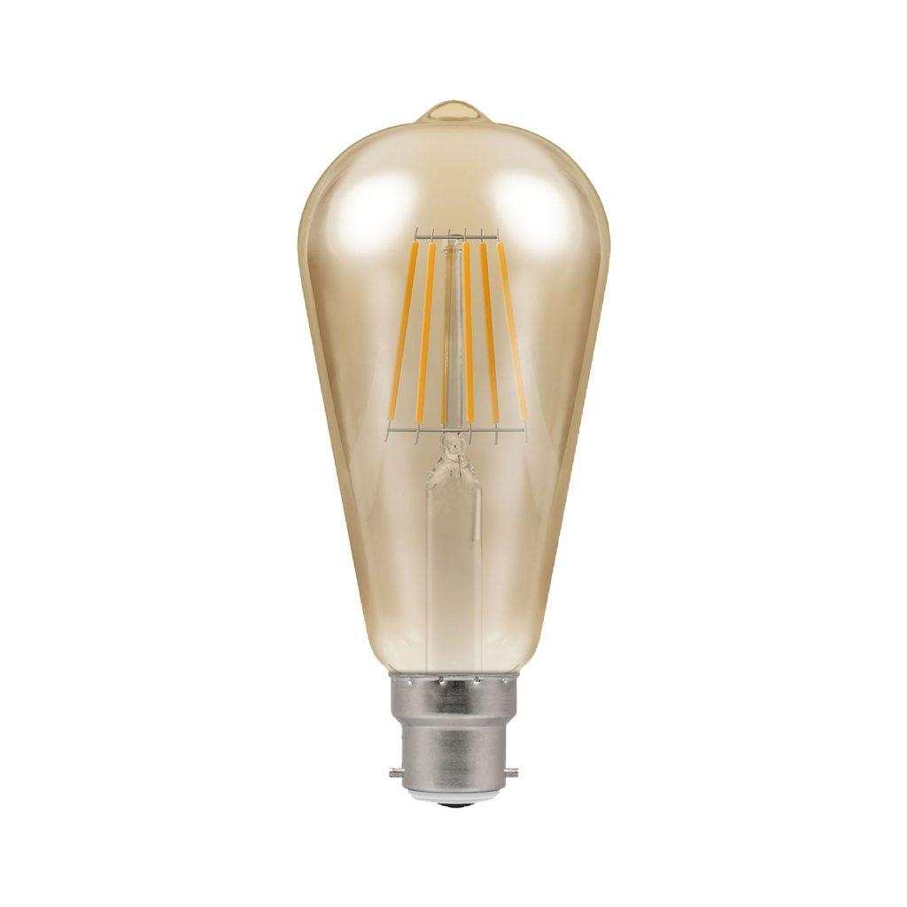 5watt Pear LED BC B22 Bayonet Cap Very Warm White Gold Finish Equivalent To 35watt Dimmable