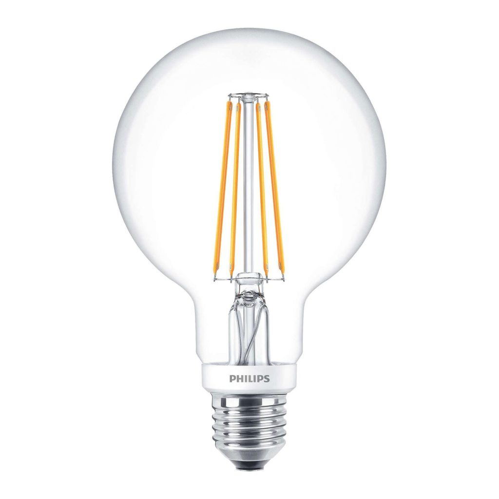 7watt G95 Globe LED ES E27 Screw Cap Warm White Clear Equivalent To 50watt Dimmable