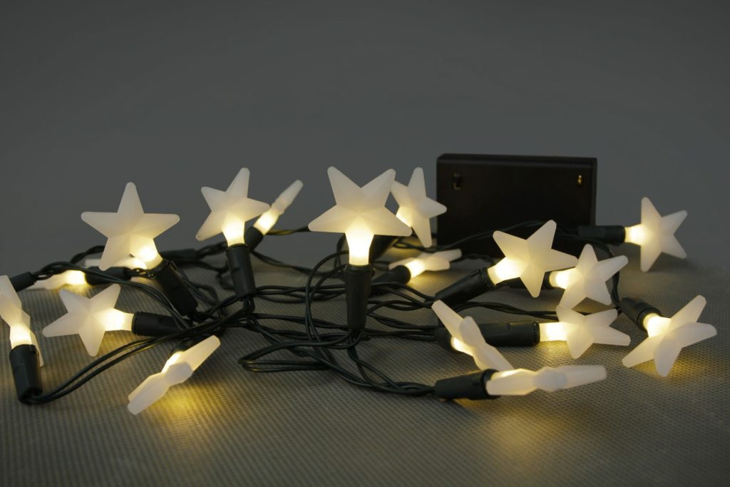 Battery Operated LED 20 X Warm White Frosted Star Light Se