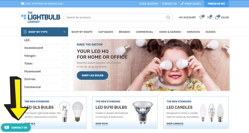 Screenshot of Where to Find Live Chat Lightbulb Co Website Redesign