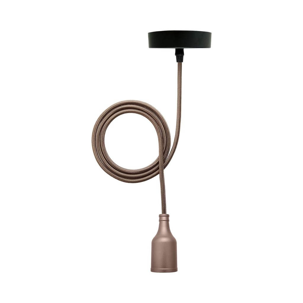 Modern Oxide Grey Ceiling Pendant Light With Brown Twisted Flex And ES E27 Lampholder