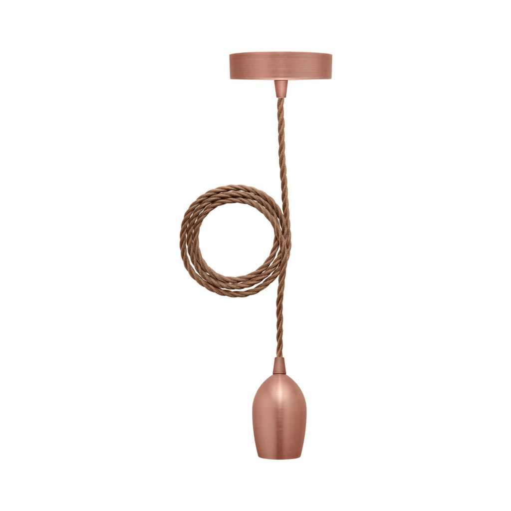 Modern Rose Gold Ceiling Pendant Light With Brown Twisted Flex And ES E27 Lampholder