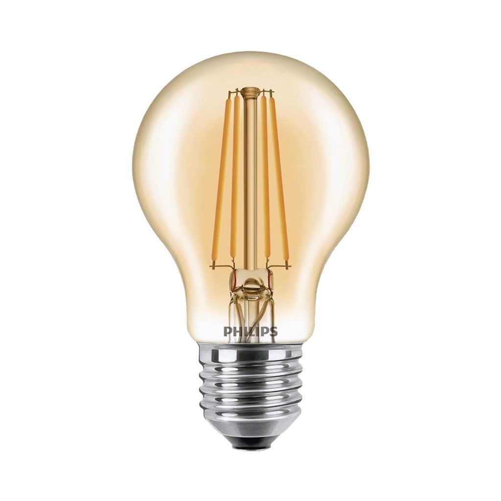 7.5watt GLS LED ES E27 Screw Cap Very Warm White Gold Finish Equivalent To 48watt Dimmable