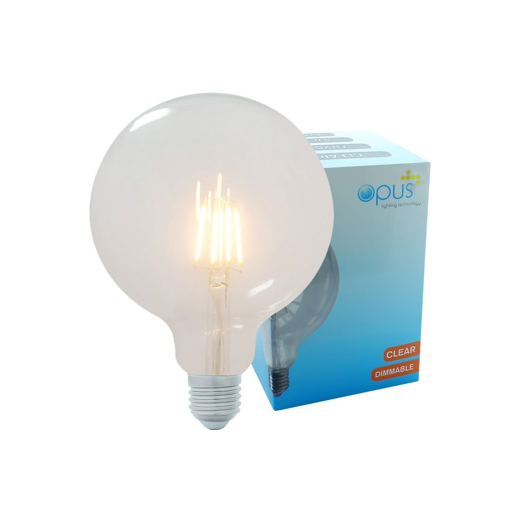 5watt G125 Large Globe LED ES E27 Screw Cap Very Warm White Clear Equivalent To 60watt Dimmable