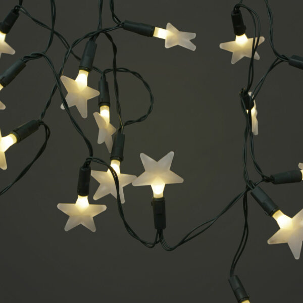 Battery Operated 20 LEDs Warm White Frosted Star Light Set