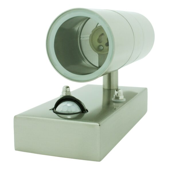Stainless Steel GU10 Up and Down Light IP44 with PIR Motion Sensor