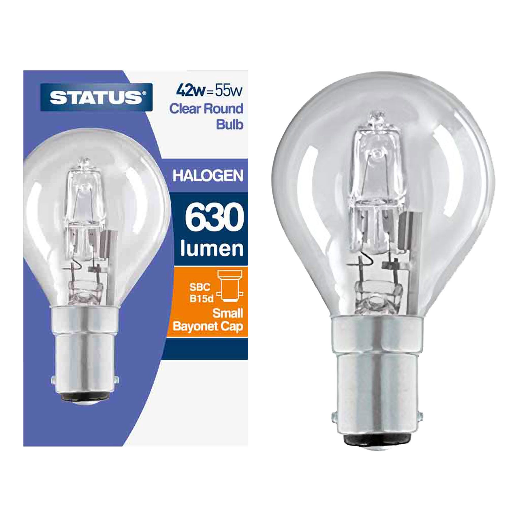 B22 Dimmable Stock Bell Clear Halogen Round Bulb 42w Equivalent 55W BC