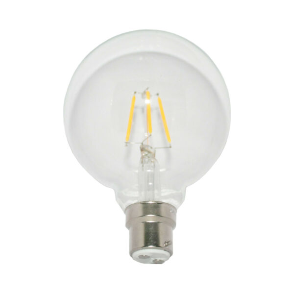 5watt G95 Globe LED BC B22 Bayonet Cap Very Warm White Clear Equivalent To 60watt Dimmable