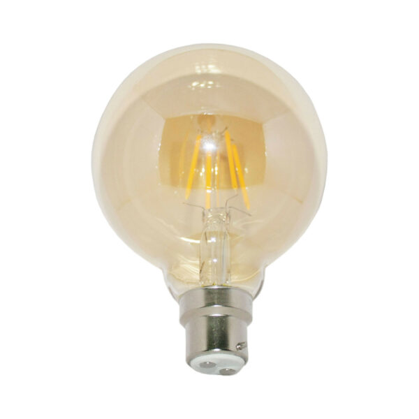 5watt G95 Globe LED BC B22 Bayonet Cap Very Warm White Gold Finish Equivalent To 60watt Dimmable