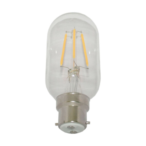 5watt Tubular T45 LED BC B22 Bayonet Cap Very Warm White Clear Equivalent to 60watt Dimmable